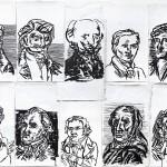 "Martin Enderlein, (Ausschnitt) ""Porträts 1-25"", Tusche auf Leinwand, 2017"