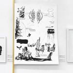 """Anton Schwarzbach """"3 Sonnen"""" Pixelzeichnung auf Holzgestell, 2017"""