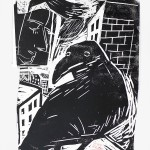 "Ellen Fuhr ""Krähe, Krähe, wunderliches Tier"" Holzschnitt, 70 x 50 cm, 2017"
